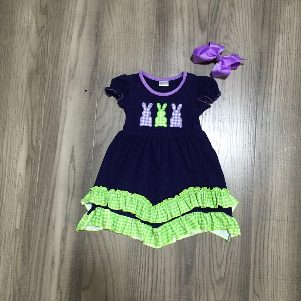 Baby Girls Easter Dress Girls Short Sleeve Dress With Bunny Print Girls Soft Cotton Dress Girls Cute Dress With Bow