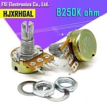 5 pces 250 k ohm wh148 b250k 3pin potenciômetro 15mm eixo com porcas e arruelas quente