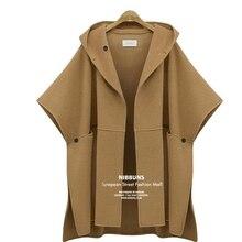 Womens Wool Coat 2019 Elegant Winter Woolen Cape Female Cloak Jackets Casual Split Streetwear Hooded Overcoat