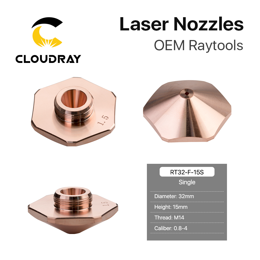 Cloudray Bodor Laser Nozzles Single Layer/Double Layers Dia.32mm Caliber 0.8 - 4.0mm For Bodor Empower Fiber Laser Cutting Head