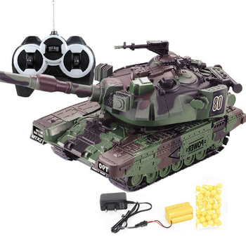 1:32 Military War RC Battle Tank Heavy Large Interactive Remote Control Toy Car with Shoot Bullets Model Electronic Boy Toys