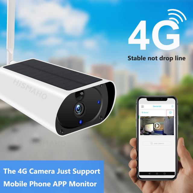 4G LTE Camera Solar Outdoor 1080P HD Wireless 3G SIM Card Camera CCTV Security Surveillance Built-in Rechargeable Battery 2