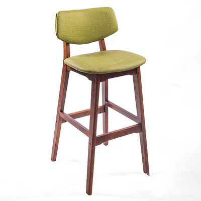 Nordic Solid Wood Bar Chair Backrest Home Bar Stool Simple Front Desk Bar Chair Creative High Stool