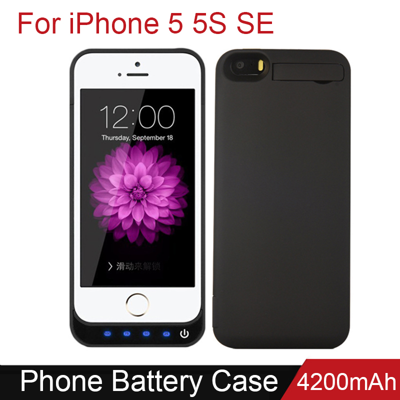 Battery Charger Case 4200mah Rechargeable With Stand External Battery Pack Babk Backup Chargering Case For Iphone 5 5S SE