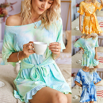 New Summer Fashion Women O-Neck Casual Short Sleeve Playsuits Sexy Beach Tie Dyed Print Lace up Loose  Jumpsuit artka 2020 spring summer new women bodysuit fashion print loose chiffon playsuits v neck flare sleeve jumpsuit women ka25003c