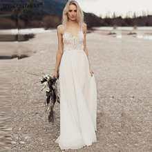 SINGLE ELEMENT NEW Wedding Dresses Backless Bohemia Sexy Spaghetti Neckline Lace Bridal Gowns Plus Size