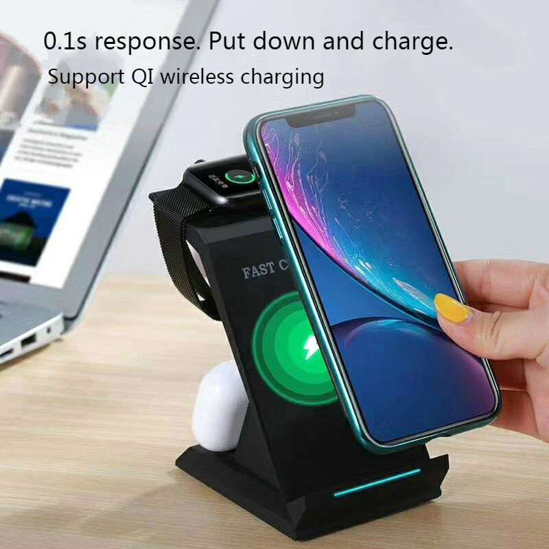 QI 15W Fast Charge 3 In 1 Wireless Charger For Ulefone Armor 7E/ 7/ 6E Wireless Charge Stand For BlackBerry Evolve X/ Evolve/Q20 Pakistan