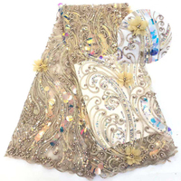 African french net lace fabrics gold 3d flowers tulle lace fabric embroidery beaded sequins appliques mesh lace sequence pearls