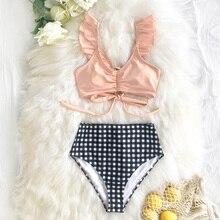 Cupshe sexy azul listrado e babados de cintura alta conjuntos de biquíni feminino bonito duas peças maiôs 2020 menina praia fatos de banho