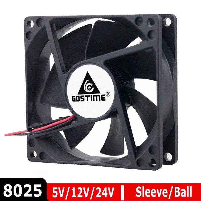 1Pcs Dual Ball Bearing Brushless DC Cooling Exhaust Fan 12V 80MM 80x80x25mm 2Pin