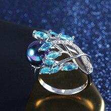 Hohe Qualität Kreative Phoenix Schwanz Schwarz Perle Ring Für frauen Blau Kristall Zirkon Ring Braut Hochzeit Engagement Schmuck Geschenke