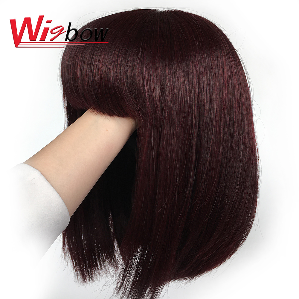 Wigbow Short Bob Wigs Straight Wigs Bralizian Remy Human Hair Pre-Plucked Wigs 12 14 Inch For Women Natural 99J Color