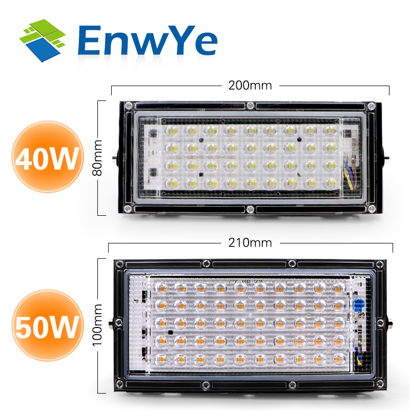 EnwYe 220V 240V LED Cast Light LED Spotlight 40W 50W IP65 Power Waterproof Landscape Lighting LED Street Lamp