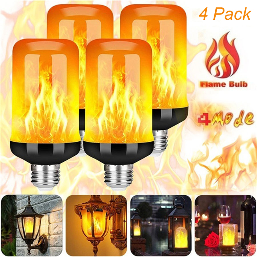 6pack LED Flame Effect Light Bulb 4 Modes Flickering Emulation Christmas Halloween Decor Light E27 Flame Bulb Garden Lights