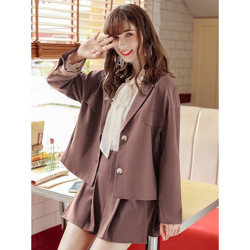 Women Clothes New Women's Lapel Two Buckles Solid Color Casual Small Suit Temperament Jacket Female Women Suit Jacket