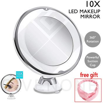 Elastyczny lustro do makijażu 10X lustra powiększające z podświetleniem LED ekran dotykowy lustro kosmetyczne przenośne toaletka lusterka kosmetyczne tanie i dobre opinie MISS ROSE Wyposażone CN (pochodzenie) Glass 7 79in*6 67in*2 76in 05-HZJ-01