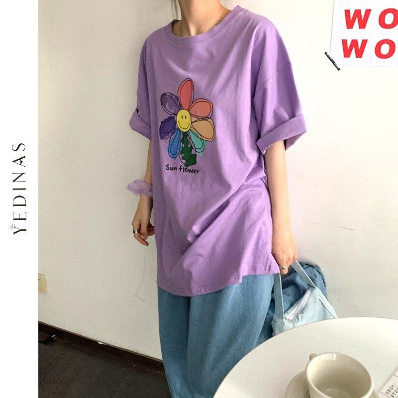 Yedinasひまわりプリントtシャツ女性の夏の和風tシャツ女性美学トップス特大tシャツシャツ綿