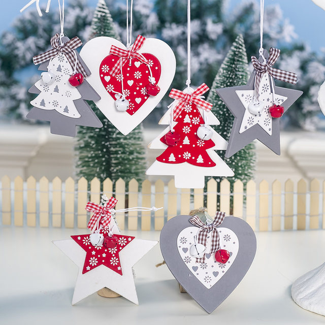 44 Types Christmas Tree Decoration Ornament Santa Clause Elk Star Wooden Hanging Pendant Xmas Christmas Party Decor for Home 23
