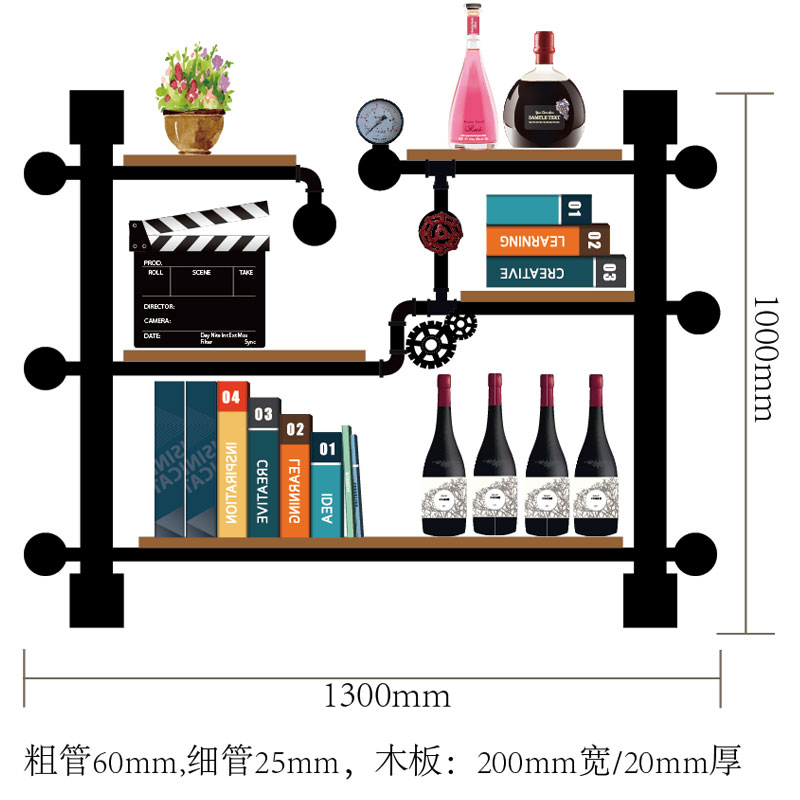 Modern Iron Wall-mounted Wine Holder Bookshelf/Simple Hanging Wine Rack Holder Iron Art Wine Support Cabinet Flat/Tilted Types