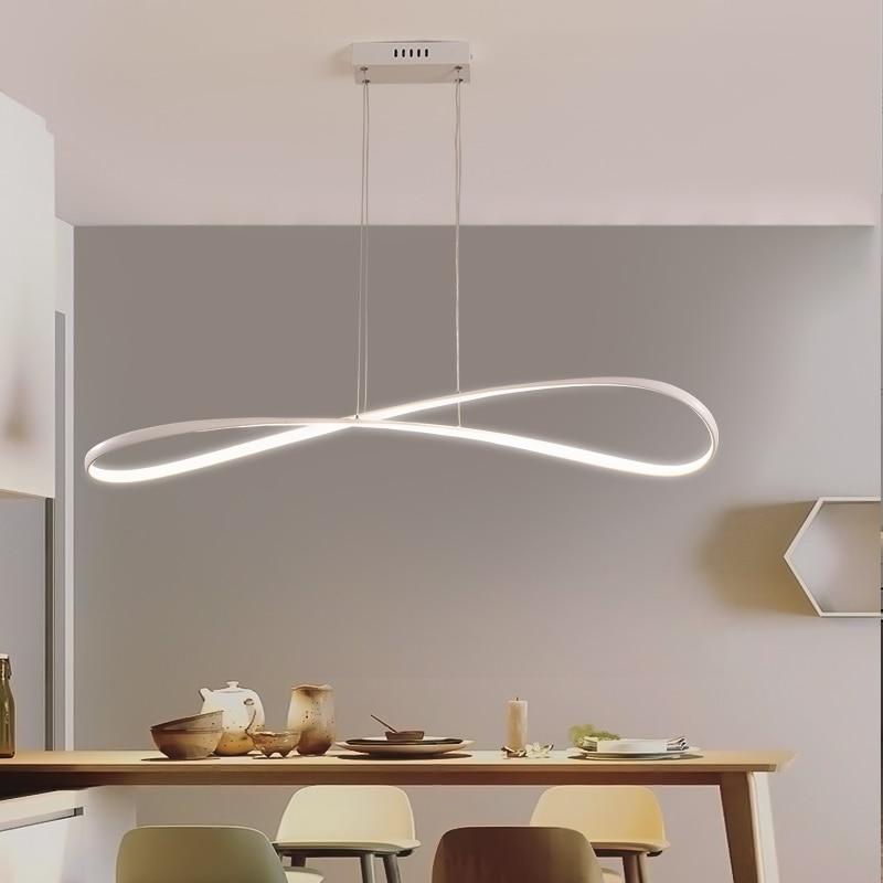Modern LED Pendant lights for living dining room Kitchen Room Matte Black/White Finished aluminum body Pendant lamp AC90-260V