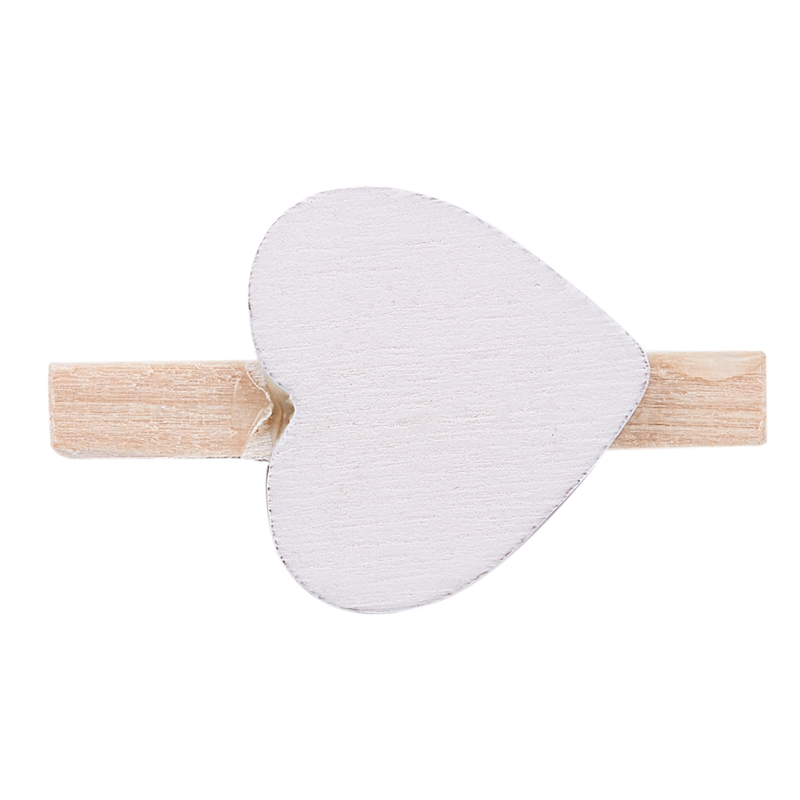 Small Mini Wooden Clothes Pegs / Decorative Pegs With Hearts , White