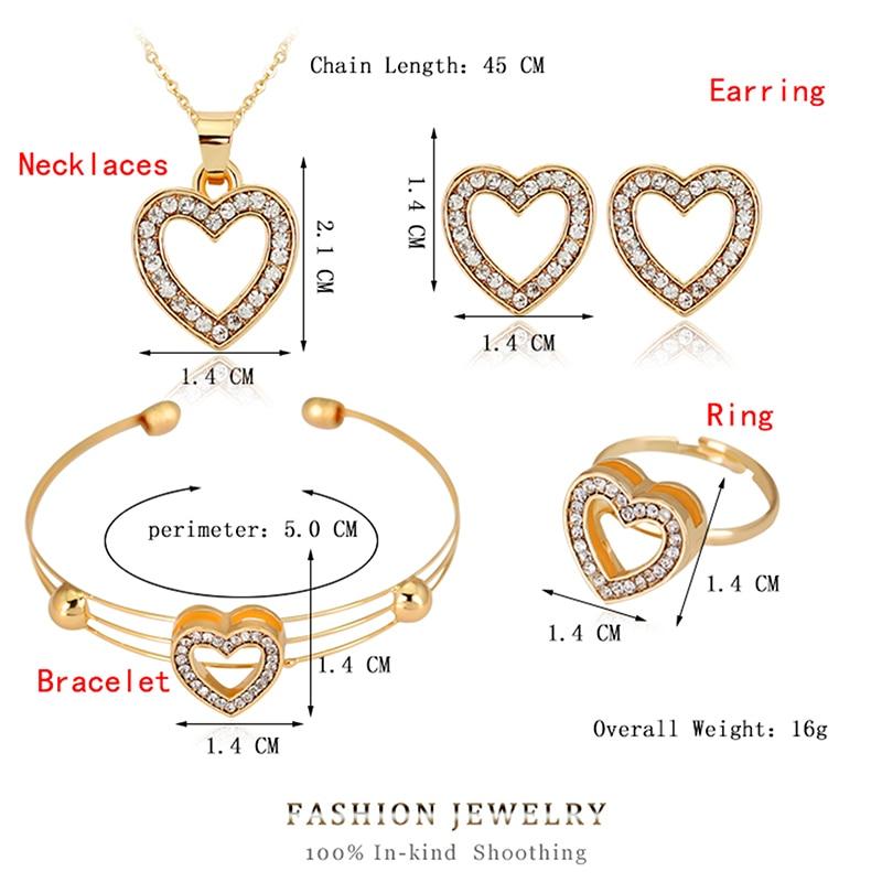 4pcs/lot Heart Shaped Bracelet Neclace Earrings Sets Jewelry Crystal Lovely Gold Color Jewelry Sets For Women Girl-5