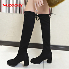 купить 2019 Sexy Thigh High Boots Platform Winter Boots Women Over the Knee Boots High Heels Suede Black Long Boots Fur Shoes Woman по цене 1050.57 рублей