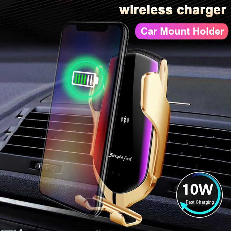 Qi Wireless Charger untuk iPhone 11 Samsung Note 10 + 9 8 S10 S9 S8 Plus 10W Induksi Otomatis pemegang Telepon Wirless Charger Mobil