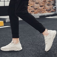 2019 New Mens Fashion Mesh Sneakers Solid Color Flying Weaving Casual Sports Shoes Thin Breathable Comfortable Travel