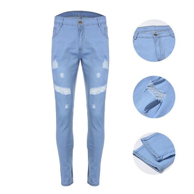 Ripped Stretch Blue Jean 8