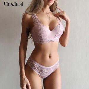 Image 1 - 2020 New Thick Gather Brassiere Sexy Underwear Set Cotton Deep V  Bras Women Lingerie Set Embroidery Lace Push Up Bra Sets Black