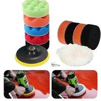 11 pçs 3/4/5/6/7 polegada esponja polimento enceramento almofada kit conjunto para carro polidor buffer broca roda polidor remove scratche -
