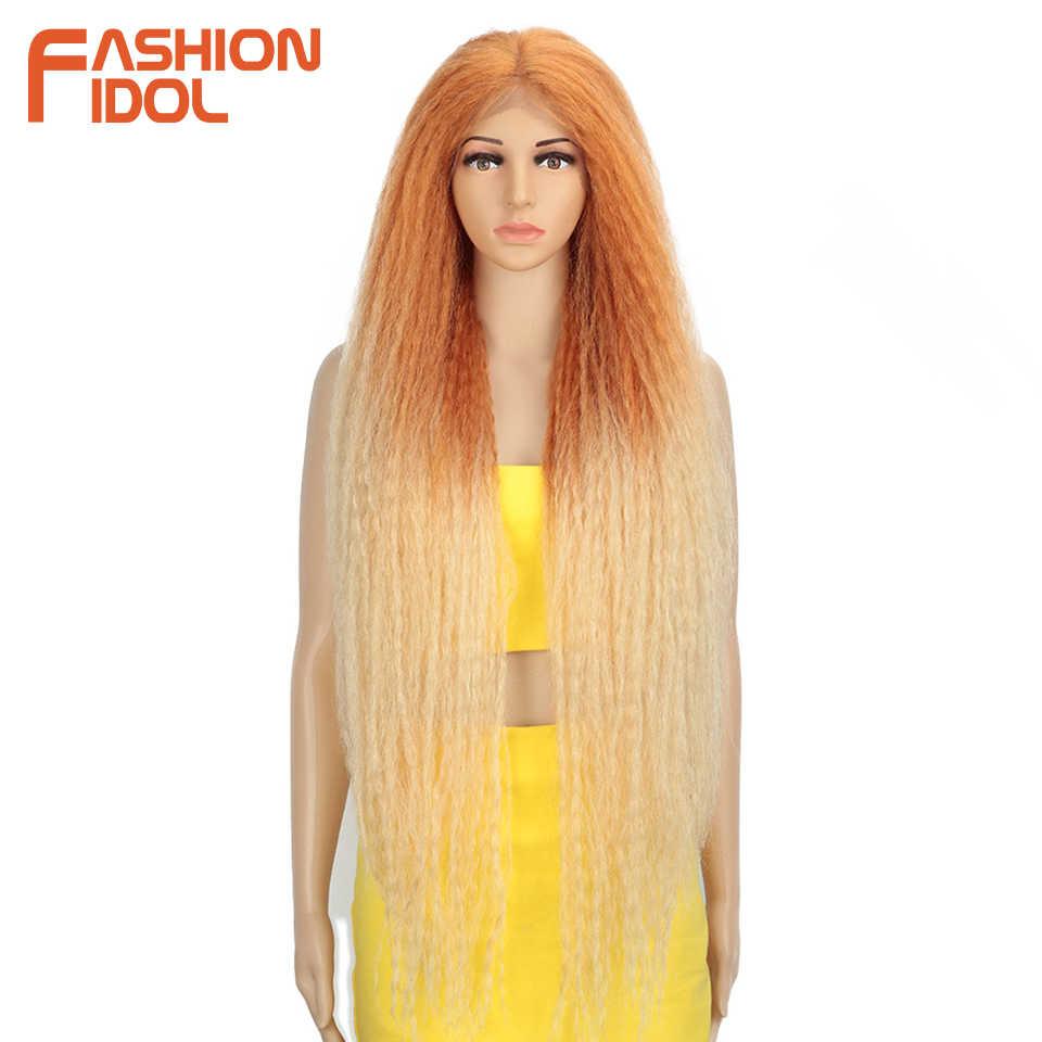 Mode Idol Afro Kinky Steil Haar Weave Lange Gevlochten Pruik Cosplay 38 Inch Lace Front Pruiken Voor Zwarte Vrouwen Ombre roze Groene Pruik