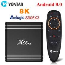 VONTAR decodificador de señal X96 Air, 4GB, 64GB, 8K, Amlogic S905X3, dispositivo de TV inteligente, Android 9, 9,0, GWifi, 2,4 P, 4K, Youtube, X96Air, 2GB, 16GB