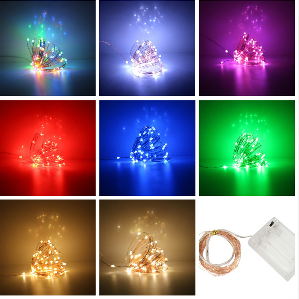 1M 10LEDS LED String Light Copper Wire Garland Home Christmas Wedding Party Decoration Powered 3*AA Battery For DIY Lighting