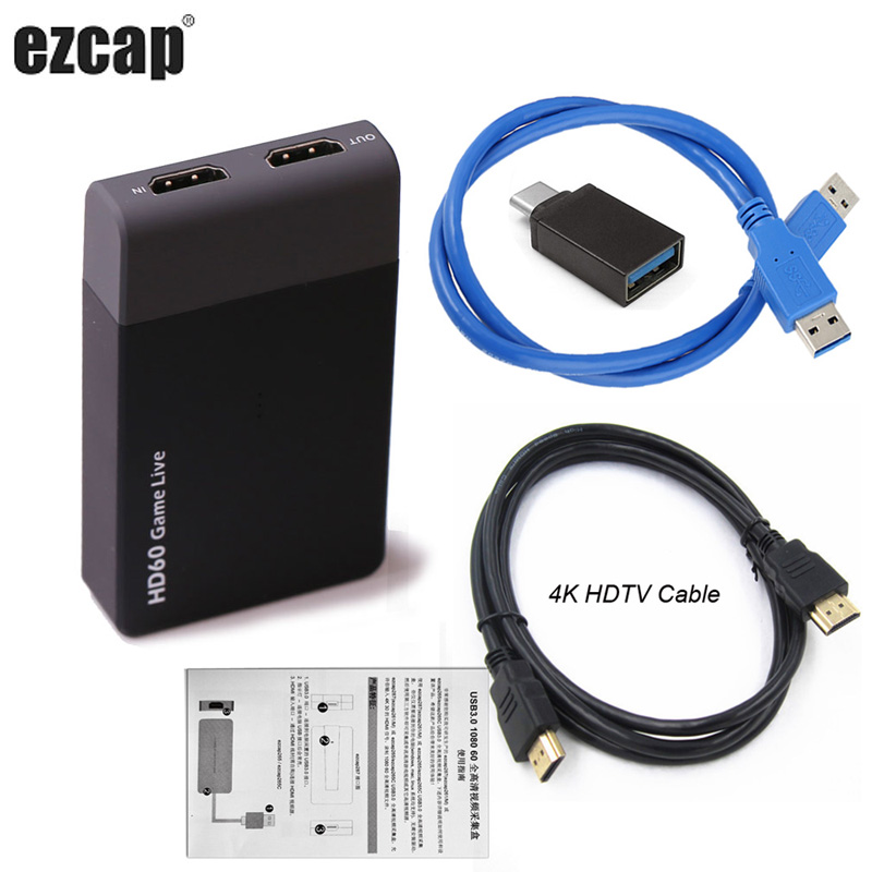 USB3.0 Video Capture 4K 1080P Game Live Streaming Broadcast With Mic HDTV HDMI Cable For XBOX One PS3 PS4 AV Phone Outdoor OBS