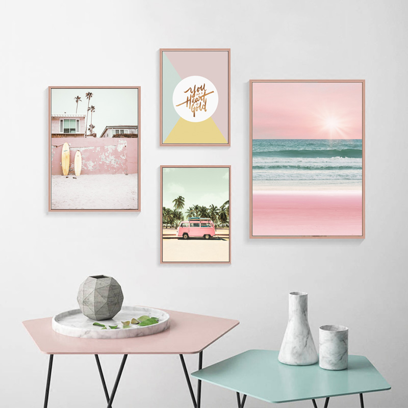 Scenery Canvas Waterproof Ink Print Sea Picture Wall Art Pink Painting Posters Living Room Decor Beach Unframed