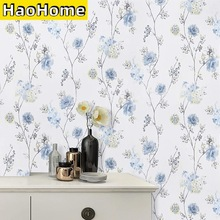 HaoHome Blue Floral Wallpaper Modern Floral Peel and Stick Wallpaper Self-Adhesive Waterproof Removable Contact Paper