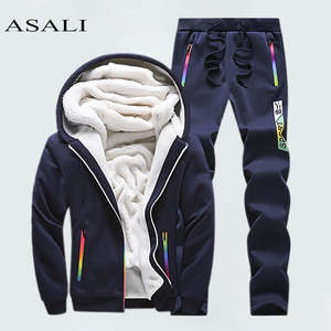 Image 2 - Winter Tracksuits Men Set Casual Thicken Fleece Warm Hooded Jacket Pants Spring Sweatshirt Sportswear Coats Hoodie Track Suits