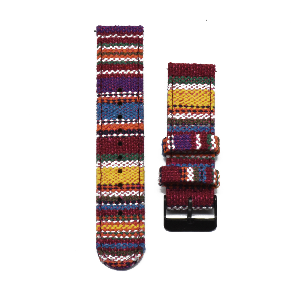 Colourful woven watch strap