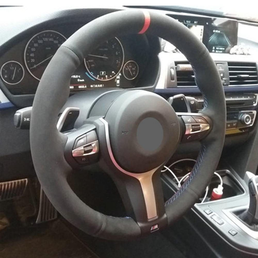 Черная замша кожаный чехол рулевого колеса автомобиля для BMW F87 M2 F80 M3 F82 M4 M5 F12 F13 M6 F85 X5 м F86 F33 X6 м F30 M Sport