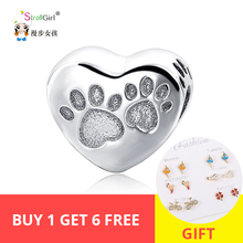 Fit Authentic Animal Charms  Charm bracelets Fashion DIY 2018 New Arrival Hot Selling Sterling Silver Dog Paw Beads