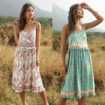 Summer Boho Slip Dress Women 2020 Vintage Patchwork Floral Print Beach Ruffle Off Shoulder Midi Dresses Sundress Robe Vestidos