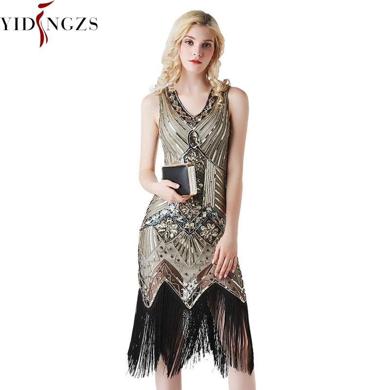 YIDINGZS Short Vintage   Evening     Dress   Gold Sequins Beaded Formal   Evening   Party   Dress   2019
