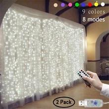 2 пакет 3Mx3M 9 цветов огни романтический свадебные украшения открытый занавес свет строки дистанционного управления режимы 8 USB лампа