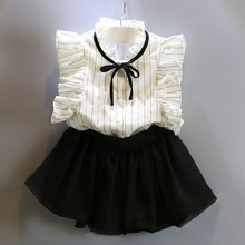 купить Summer Cotton Vest Two-piece Sleeveless Children Sets Girls Clothing Sets Casual Fashion Girls Clothes Suit Skirt 40 дешево