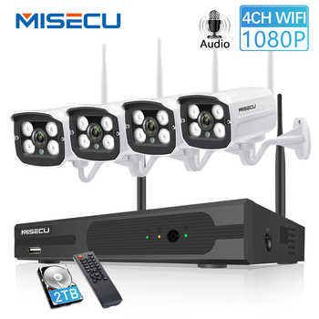 MISECU Plug and Play 4CH 1080P HD Wireless NVR Kit P2P 1080P 2MP Indoor Outdoor Camera Audio Record Waterproof CCTV WIFI System - DISCOUNT ITEM  67% OFF All Category