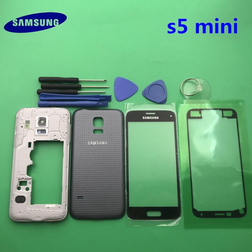 Cep telefonları ve Telekomünikasyon Ürünleri'ten Cep telefonu yuvası'de Tam konut Case arka kapak + ön ekran cam Lens + orta çerçeve Samsung Galaxy S5 mini G800 G800F komple parçaları