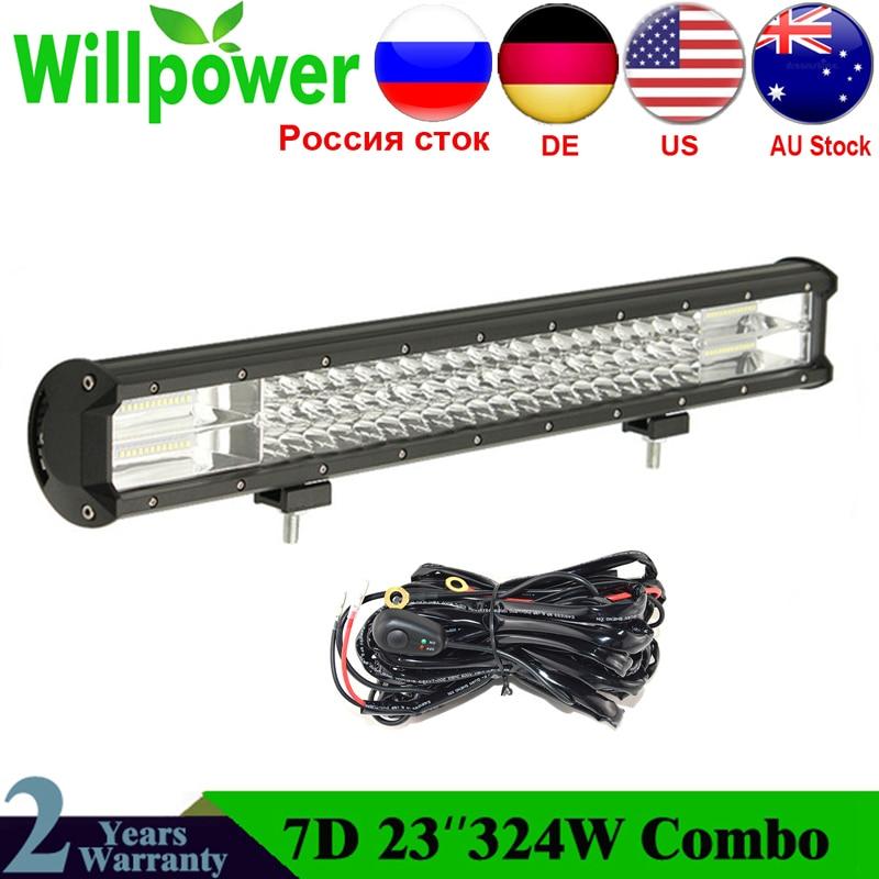 Willpower 23 Inch 324W 7D LED Light Bar Offroad Led Bar Tri-Row Combo Beam Work Lamp Car Light For Truck SUV ATV 4x4 4WD 12v 24V