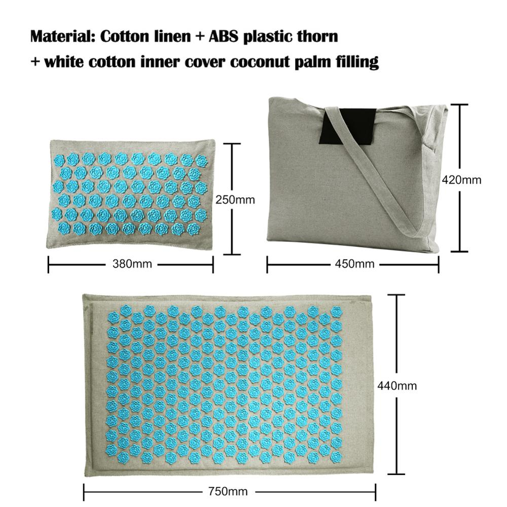 Lotus Yoga Mats with Acupressure Massage and Pillow Set of High quality Cotton and Linen available with Spike Cushion 3